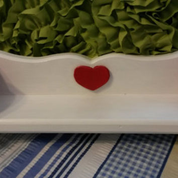 Up-Cycled Cottage Chic Hand Painted Wooden Heart Shelf in Red and White