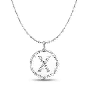 """X"" Diamond Initial 14K White Gold Disk Pendant (0.56ct)"