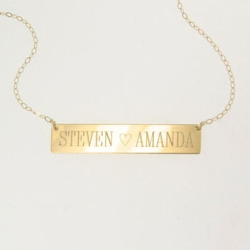 WILL ENGRAVE - 14K Gold Nameplate Necklace, Yellow or White Gold, Name Plate As Seen on Kim Kardashian