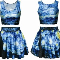 Ninimour- Digital Print Reversible Crop Top + Skirt 2 Pieces Vintage Clubwear (starry night)