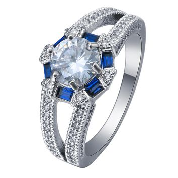 2017 chinese tradional gossip Rings silver plated jewelry band white CZ royal blue rectangle cubic zircon women wedding Ring