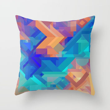 Multi Color Geometric Pattern // Dark Blues, Oranges, Aqua, Teal Throw Pillow by AEJ Design