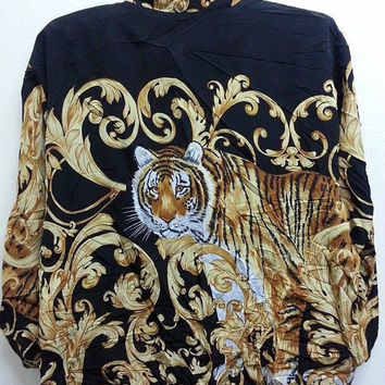 Sale Vintage 1990s Silky Baroque Tiger Canyon Design Hipster Hip Hop Disco Bomber Jacket