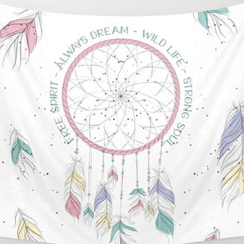 Watercolor Dream Catcher Tapestry Wall Hanging Meditation Yoga Grunge Hippie