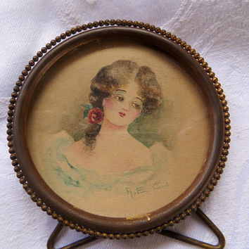 Antique Hand Painted Portrait Victorian Young Lady Watercolor on Board, Victorian Portrait Painting  Beaded Frame Miniature Portrait