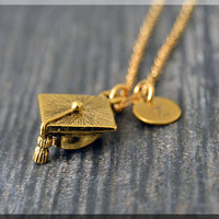 Gold Graduation Cap Charm Necklace, Initial Charm Necklace, Personalized, Grad Pendant, Graduate Jewelry, Monogram Graduate Necklace