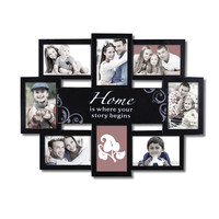 """Adeco Decorative Black Plastic """"Home"""" Wall Hanging Collage Picture Photo Frame, 8 Openings, 4x6"""""""