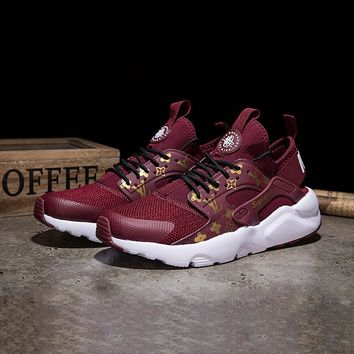 Best Online Sale LV x Supreme x Nike Air Huarache Custom Red White Sport Running Shoes