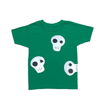 Skulls Can be Cute! - Green and Pink Kids T-Shirt - Boys or Girls