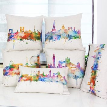 Watercolor Painting London/Paris City Map  Throw Pillow Case Cushion Covers