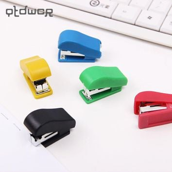 2 PCS Mini Stapler Plastic Stationery Set Kawaii Stapler Paper Office Accessories About 100Pcs Staples