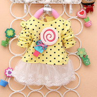 Lovely Girl Baby Kid Lollipop Dots Tutu Dress Long Sleeve Lace T-shirt Tops Clothings Free Shipping