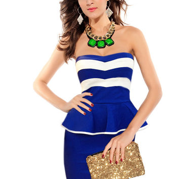 Blue Stripe Print Strapless Peplum Mini Dress