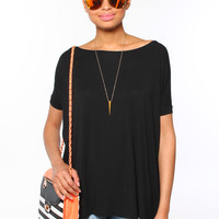 Bamboo Scoop Tee - Black