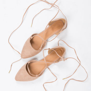 Suede Ballerina Lace Up Flats