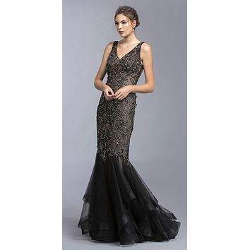Tiered Mermaid Beaded Long Formal Dress Open Back Black