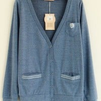 V-Neck  Blue long sleeve embroidery cardigan  Embroidery Pop  style zz92701901 in  Indressme