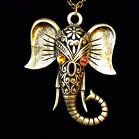 Bronze and topaz swarovski crystal  tibetan Elephant necklace