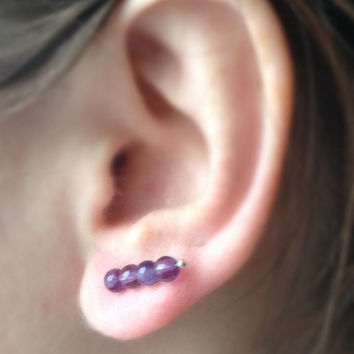 Amethyst Ear Pin Earrings, Purple Stud Earrings, Ear Cuff Amethyst, Ear Climber Sterling Silver, February Stone, Healing Stone, Gift Idea