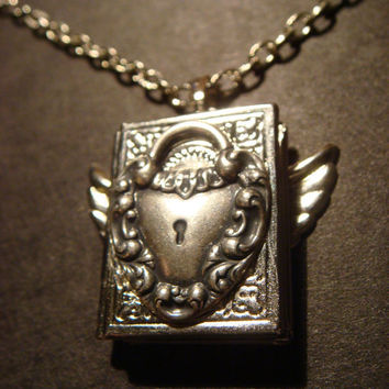 Steampunk Locket Necklace with Heart Lock and by CreepyCreationz