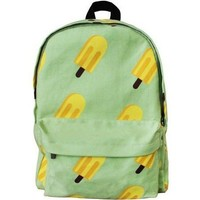 Washed  Canvas Ice Lolly Print Backpack in Green