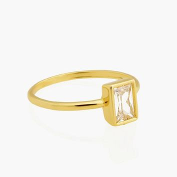 Rectangle Clear Diamond Ring