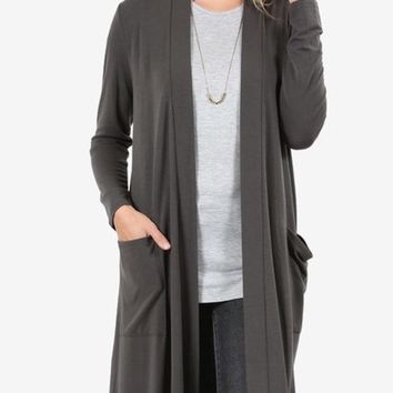 Women's Gray Cardigan Long Duster With Pockets:  S/M/L/XL