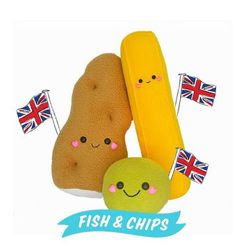Fish and chip set of plushies / novelty food pillow /plushies kawaii toys comfort fast food takeout takeaway peas pea fried chicken nuggets