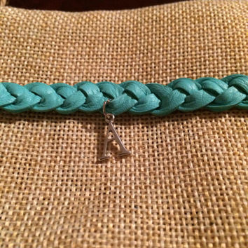 Custom Soft Turquoise Braided Leather Essential Oil Diffuser Bracelet with Initial Pendant