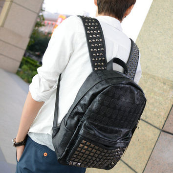 Comfort Casual College Hot Deal Stylish On Sale Back To School Hot Sale Korean Strong Character Fashion Skull Men Rivet Backpack [6582642631]