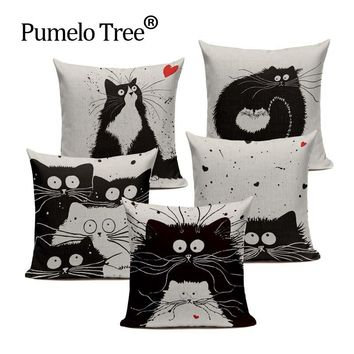 Soft Cotton Black And White Cat Family Cat Cartoon Bedding Set 45Cmx45Cm Square Kids Birthday Decorative Printed Pillow Case