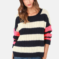 Give 'em the Switch Navy, Ivory, and Neon Coral Striped Sweater