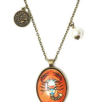 Scorpio Oval Necklace Antique Zodiac NG48 Faux Pearl Scorpion Pendant Astrology Charm Horoscope
