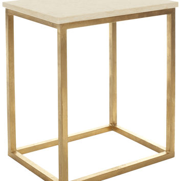 Tad Accent Table Ivory/ Gold Legs