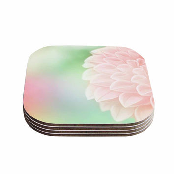 "Robin Dickinson ""Sweet Pink"" Green Floral Coasters (Set of 4)"