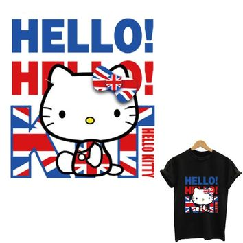 hello kitty patch transfert thermocollants t-shirt stickers for clothes iron on patches stripes for clothes toppe applique tops