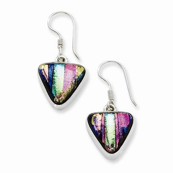 Sterling Silver Multicolor Dichroic Glass Triangle Shaped Dangle Earrings