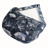 Bike messenger bag blue white with natural pattern