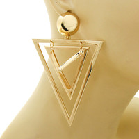 Gold Metal Triangle w/ Pyramid Dangle Earrings