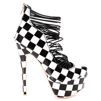 Ami Black White Checker Platform Pump Stiletto Heel