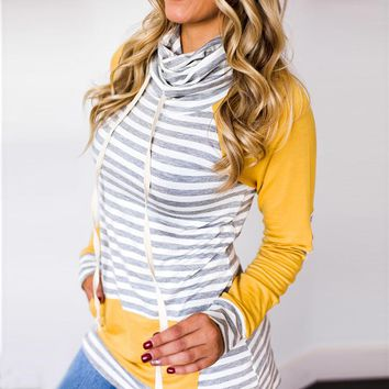 Striped Patchwork Hoodie Top with Pockets