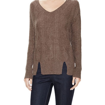 Qi Cashmere Women's Cashmere Cable V-Neck Sweater - Brown -