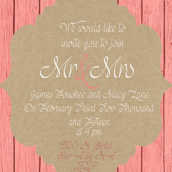 Wedding Invitation Wedding Invite Bridal Shower Invitation Custom Print Wedding Invitation
