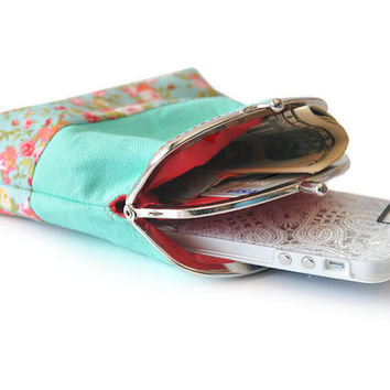 Mint Wallet - Coin Purse with cards slot - Clutch Purse - Mint Green with Red - Double Pockets - Silver Frame