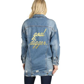 Goal Digger Gold Text Long Distressed Denim Jacket