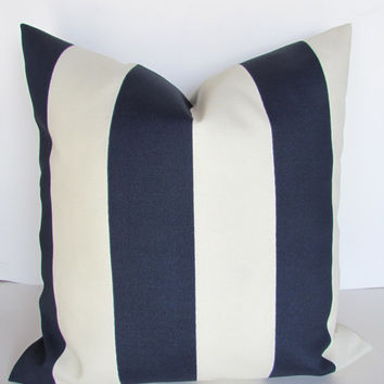 THROW PILLOWS 18x18 NAVY Blue Throw Pillow Covers Indoor Outdoor 18x18 Dark Blue Striped Cream White Nautical Decorative Throw pillows