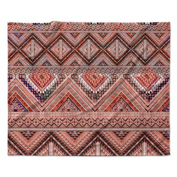 "Victoria Krupp ""Native American Art"" Pink Orange Illustration Fleece Throw Blanket"