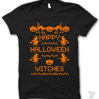 Happy Halloween Witches Orange Print