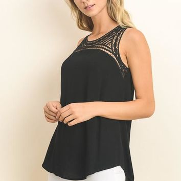 Embroidered Front Satin Tunic Tank With Side Sllit In Black