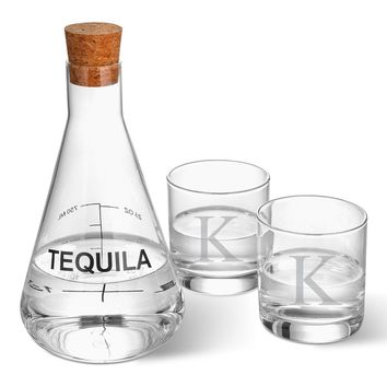 Tequila Decanter in Wood Crate with 2 Glasses